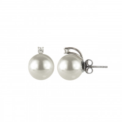 Orecchini con grande perla e zircone Pearl