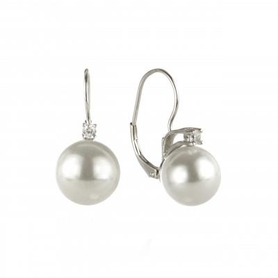 Orecchini a monachella con zircone e perla Pearl