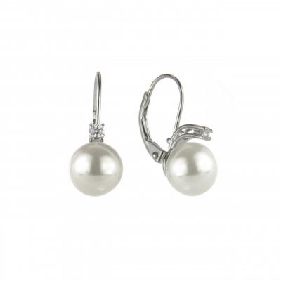 Piccoli orecchini con perla e zircone Pearl