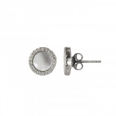 Orecchini a bottone con zirconi Pearl