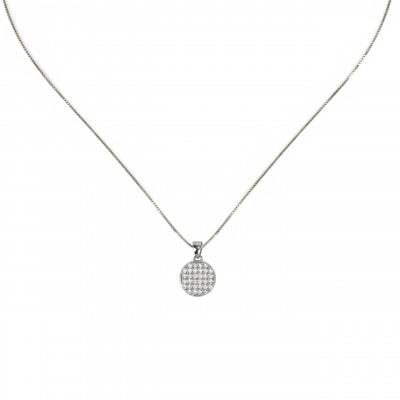 Girocollo con disco pendente e zirconi Pearl