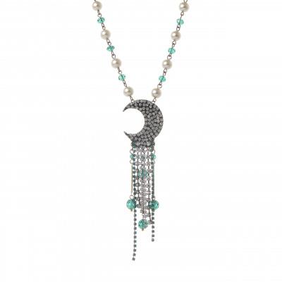 Collana con perle e spicchio di luna Moonlight