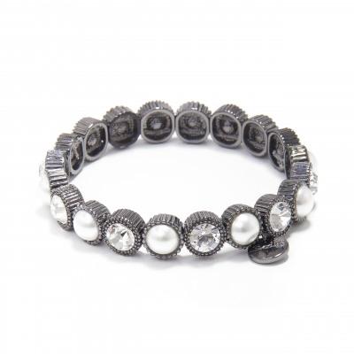 Bracciale elastico con perle e cristalli Vintage