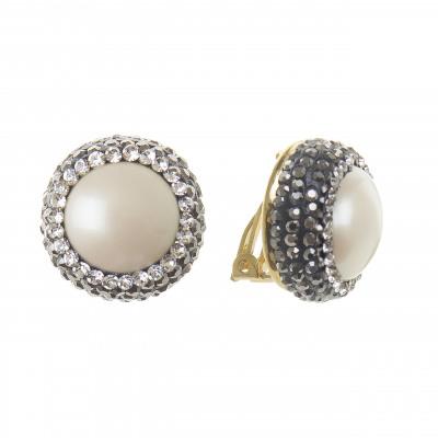 Orecchini con perla e piccoli cristalli Festival