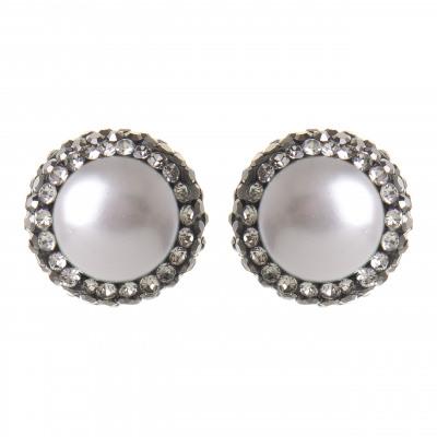 Orecchini con perla e cristalli Nature