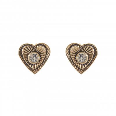 Piccoli orecchini a cuore con brillante Lipari