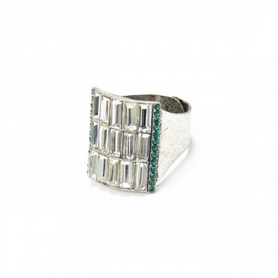 Anello con rettangolo di cristalli Chandelier