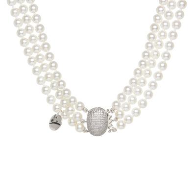 Girocollo a tre fili di perle e cupolina di brillanti Pearl